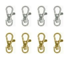 """12 SWIVEL CLIPS Clasps for KEY RING/LANYARD 1-1/2"""" x 3/4"""" ~ 8 Silver + 4 Gold"""