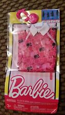 NEW Mattel Barbie Fashions Clothes Outfit Dress Barbie Head Print White Collar