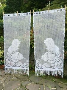 Pair Vintage French Pictorial Net Curtains Dogs 116 x 125 cms