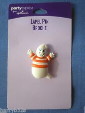 HALLMARK Halloween PIN GHOST w Blue Eyes n Orange White Striped Shirt LAPEL PIN