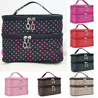 Women Double Layer Travel Cosmetic Bag Makeup Case Toiletry Organizer Polka Dots