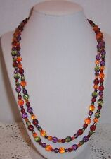 JOAN RIVERS  MULTI COLOR  CZEC FACETED GLASS BEAD NECKLACE 45''ENDLESS  #20