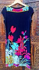 Wallis Petite Dress Size 8 Black with Floral Design Green Blue Purple Pink