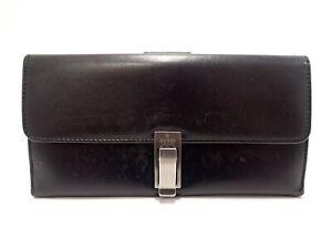 Authentic GUCCI Long Wallet Wallet Tri-fold Leather Black Men's