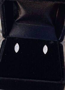 14K White Gold Natural Diamond Stud Earrings O.08 Ct G-SI1