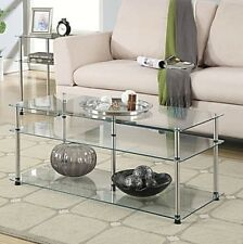 Coffee Table Clear Glass Metal Tables 3 Tier Modern Living Room Open Design
