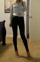 womens hm denim over sized long sleeve shirt light blue front pockets size 4