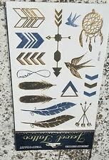 Planche de 15 Tatouages éphémères métallique waterproof. Tatoo temporaire or