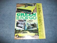 """1970 Plymouth Road Runner Pro Street Vintage Article """"Green is for Go"""" Hemi"""