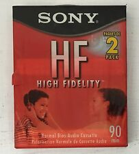 Pack of 2 Sony HF Normal Bias 90 Minute Audio Cassette Tapes New + Sealed HF90