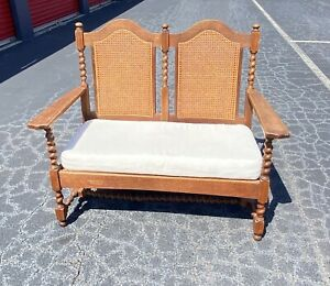 Vintage Wooden Twisted rattan love seat bench