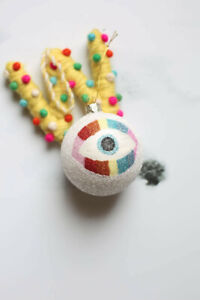 Cody Foster & Co., White and Rainbow Glitter, Evil Eye Bulb Ornament