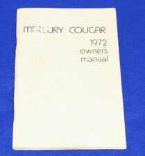 MERCURY 1972 Cougar Owners Manual Genuine FORD Product Good Condition