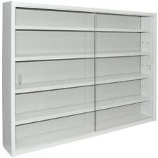 REVEAL - 4 Shelf Glass Wall Collectors Display Cabinet - White MC0505