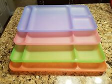Tupperware Cafeteria Style Divided Dinner Lunch Trays RARE Pastel Colors