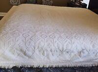 "Vintage White Chenille Bedspread 115""x95""Queen/ King Cottage Chic  Cotton Fringe"
