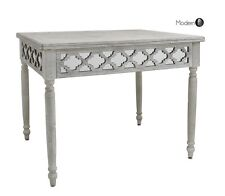 WASHED WOOD WITH MIRROR PATTERN DINING TABLE, MEDITERRANEAN STYLE TABLE