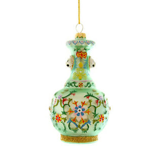 Cody Foster Glass Green Chinoiserie Chinese Vase Christmas Tree Ornament Decor