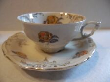 Schwarzenhammer Bavaria Brown Orange Flowers Gold Trim Tea Cup & Saucer