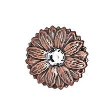 "Flower Concho with Synthetic Crystal Center 2"" Antique Copper Screwback 2909C"