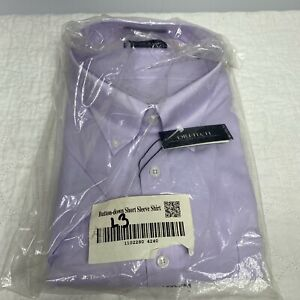 Damon Dri-Tech Lavender Button Front Short Sleeve Dress Shirt Men's Size 20 Big