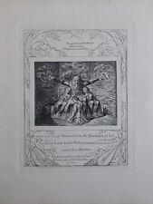 William BLAKE - Les filles de Job - Gravure N&B - Livre de Job  - Bible #1902