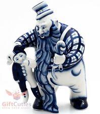 Porcelain Gzhel Figurine of Karabas Barabas from Pinocchio Buratino handmade