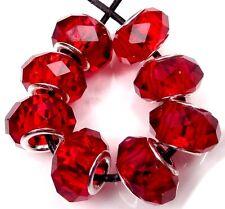 8 Faceted  Siam Ruby Glass Quartz Big Hole European Fit Charm Bracelet Beads