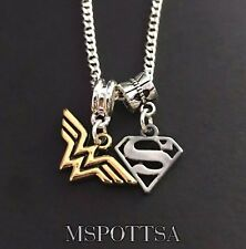 Wonder Woman Superman Chain Necklace DC Comics Justice League European Charms