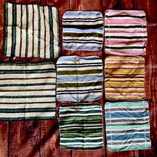 Vtg 1970s BATH TOWEL WASH CLOTH MCM Cotton USA terry striped green blue set hand