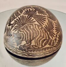 """Coconut Shell Bowl Folk Art Hand Crafted 5 1/2"""" D"""