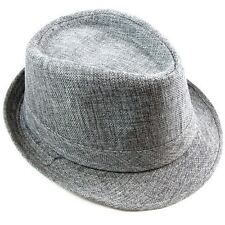 Cotton Fedora Hat Cap trilby Mens GRAY Womens Unisex fashion Canvas style NEW
