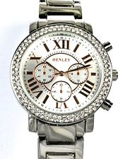 Henley Ladies Sparkly Crystals Silver Tone Watch, Rose Gold Tone Time Markers