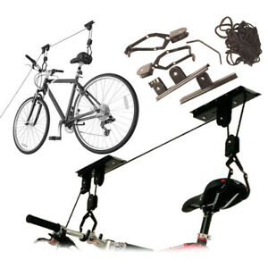 Bike Bicycle Ceiling Hanger Lift Pulley Hoist Storage Stand Garage Rack 20KG