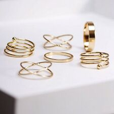 6pcs/set Fashion Knuckle Ring Punk Urban Gold Plated Stack Above Band Midi Rings