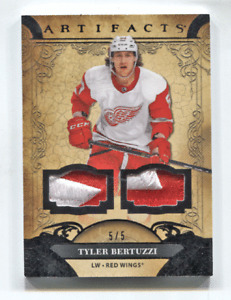 2020-21 UD Artifacts Black Dual Patch #37 Tyler Bertuzzi #/5 Detroit Red Wings