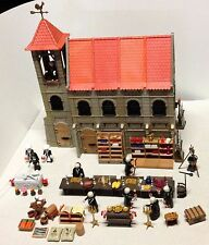 LOT PLAYMOBIL TBE RARE!! EGLISE- MONASTERE- 7 MOINES- 3 NONES- TOMBEAU- LIVRES