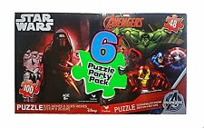 Disney & Marvel 6 Puzzle Party Pack Bundle - Star Wars, Avengers, Spiderman NWT