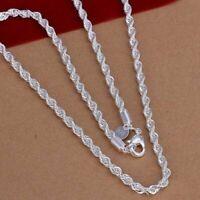 "Herren Damen 925 Sterling Silber 4mm verdreht Seil Kette Halskette 18 ""- 22"""