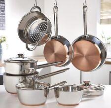 Sabichi 7 Piece Copper Base Pan Set - Steamer Basket - Strainer Lids *REDUCED*
