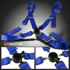 Universal JDM Blue 4 Point Cam Lock Racing/Drift Safety Seat Belt Harness
