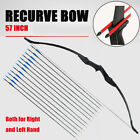 "Hunting Takedown Archery Recurve Bow 57"" Longbow Right Left Hand & 12x Arrow Set"