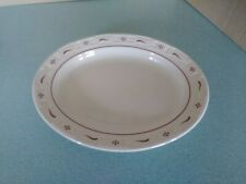 Longaberger Usa Pottery oval Serving platter dish in Traditional red