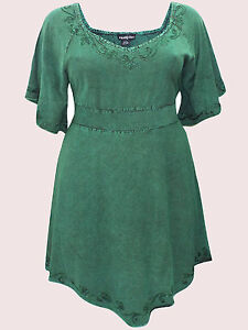 NEW Eaonplus GEM GREEN Medieval Embroidered Tunic Top SIZES UK 18/20 to 30/32