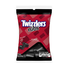 TWIZZLERS Licorice Candy, Black Licorice Nibs, 6 Ounce Pack of 12