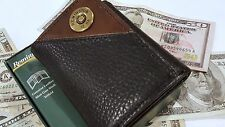 Men's Genuine Black RFID Trifold Wallet Remington 2 tone Leather 12 Card Slots