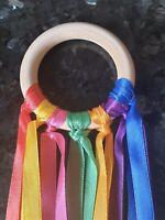 7cm Baby Sensory Rainbow Ribbon Natural Beech Wood Ring SEN Ring Baby Girl Boy