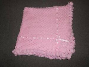 BABY PINK 40 INCHES HAND CROCHET PHOTO PROP BABY, REBORN, NEW BABY BLANKET,SHAWL