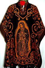 Virgen Guadalupe Black/Camel Jorongo Poncho Gaban Cape Mexico Reversible Women