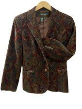 Ralph Lauren velvet Jacket women Medium equestrian paisley Floral burgundy Brown